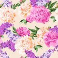 Seamless varicolored peonies and lilac Royalty Free Stock Photo