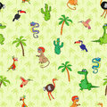 Seamless various animal pattern south animals and plants with cartoon cactus monkey ostrich hummingbird crocodile boa palm toucan Stock Photo