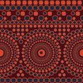 Seamless vector abstract mosaic pattern with circles and squares forming stripes and mandalas