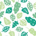 Seamless vector background green leaves. Leaves in shades of green on a white background. Hand drawn tropical leaves pattern.