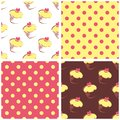 Seamless vector background set with polka dots and cupcakes yellow pink brown sweet pattern collection for cute dekstop Royalty Free Stock Images