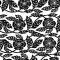 Seamless vector background, wallpaper, floral ornament with leaves and flowers. Royalty Free Stock Photo