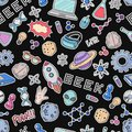 Seamless vector background, wallpaper, texture, backdrop pattern. Set of doodle cartoon icons geek, nerd, gamer Royalty Free Stock Photo