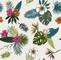 Seamless vector botanical illustration. Tropical leaves.
