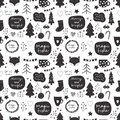 Seamless vector Christmas pattern in black and white color palette with holiday decorative elements including stars, christmas tre Royalty Free Stock Photo