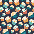 Seamless vector cupcake pattern party design Stock Photos