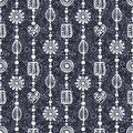 Seamless vector decorative hand drawn pattern. Blue ethnic endless background Royalty Free Stock Photo