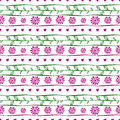 Seamless vector decorative hand drawn pattern, endless background with ornamental decorative elements, flowers, branch and Royalty Free Stock Photo