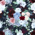 Seamless vector design pattern of dusty blue garden rose, white anemone Royalty Free Stock Photo