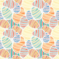 Seamless vector easter pattern with decorated egg stickers Royalty Free Stock Images