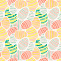 Seamless vector easter pattern with decorated egg stickers Royalty Free Stock Photography