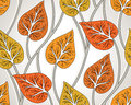 Seamless vector fancy leaves wallpaper background Royalty Free Stock Image