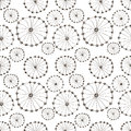 Seamless vector floral pattern. Black and white hand drawn background with abstract flowers. Royalty Free Stock Photo