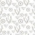 Hand drawn with ink seamless pattern background with abstract doodles, flowers, leaves.