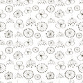Seamless vector floral pattern. Black and white hand drawn background with different flowers.