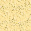 Seamless vector floral pattern. Decorative ornamental gold background with flowers, leaves and decorative elements. Royalty Free Stock Photo