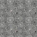 Seamless vector floral pattern. Grey hand drawn background with abstract flowers