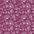 Seamless vector floral pattern. Hand drawn pink background with flovers and leaves. Royalty Free Stock Photo