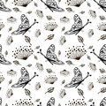 Seamless vector floral pattern with insect. Cute hand drawn black and white background with flowers and butterfly.