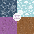 Seamless vector floral pattern set. 4 variants