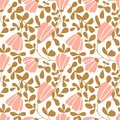 Seamless vector floral wallpaper. Decorative vintage pattern in classic style with flowers and twigs. Royalty Free Stock Photo