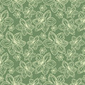 Seamless vector flowers pattern, vintage background with line drawed frowers, over pastel green backdrop Royalty Free Stock Photo