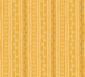 Seamless vector folk pattern. Twigs lines and zigzags with circles on yellow background. Hand drawn abstract branch illustration Royalty Free Stock Photo