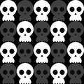 Seamless vector funky monocrome pattern of skull. Creepy cute isolated linear black line silhouette of human skull on dark Royalty Free Stock Photo