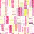 stock image of  Rectangles seamless vector geometrical pattern. Pink and yellow hand drawn lines on a white background. Endless background with