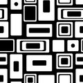 Seamless vector geometrical pattern. Endless black and white background with squares and rectangles Royalty Free Stock Photo