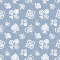 Seamless vector geometrical pattern with icons of playing cards. background with hand drawn textured geometric figures. Pastel Gra