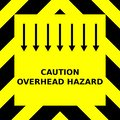 Seamless vector graphic of black upward pointing chevrons on a yellow background with the wording Caution Overhead Hazard