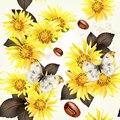 Seamless vector grunge wallpaper pattern with yellow flowers for design Royalty Free Stock Photo