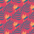 Seamless vector hand-drawn abstract pattern with tropical leaves and flowers in scandinavian style