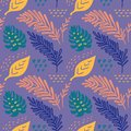 Seamless vector hand-drawn abstract pattern with tropical leaves in scandinavian style