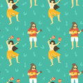 Seamless vector hawaii pattern. Summer background with dancing girls and men playing ukulele.