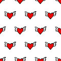 Seamless vector heart pattern for valentines day cute hearts with wings happy valentine s background Royalty Free Stock Photos