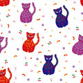 Seamless vector illustration with various stylized multicolor cats Royalty Free Stock Photos