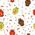 Seamless vector illustration with various stylized multicolor owls Royalty Free Stock Photography
