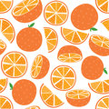Seamless Vector Orange fruit with leaf and slice
