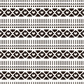 Seamless vector ornamental pattern. Hand drawn black and white geometric background with traditional ethnic motifs Inc painting