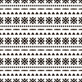 Seamless vector ornamental pattern. Hand drawn black and white geometric background with traditional ethnic motifs