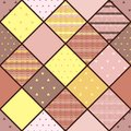 Seamless vector patchwork pattern in coffee and lemon colors. Royalty Free Stock Photo