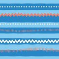 Seamless vector pattern abstract horizontal lines, zigzag, dots, stripes. Red and blue tribal doodle background. Texture for