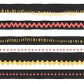 Seamless vector pattern abstract horizontal lines, zigzag, dots, stripes. Red and yellow doodles on black and white background.