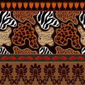Seamless vector pattern with animal prints and ancient geometrical ornaments.