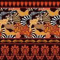 Seamless vector pattern with animal prints. Royalty Free Stock Photo