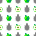 Seamless vector pattern with animals, colorful background with hedgehogs and green apples, over light backdrop