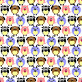 Seamless vector pattern with animals. Cute background with comic pigs, sheeps, dogs and cows on the white backdrop.