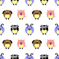 Seamless vector pattern with animals. Cute background with comic pigs, sheeps, dogs and cows on the white backdrop